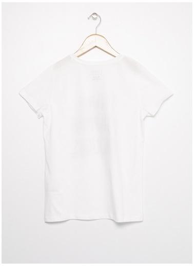 Limon Company Limon Beyaz Kız Bisiklet Yaka Görsel Baskılı Çocuk T-Shirt Beyaz